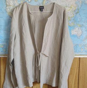 Eileen Fisher Linen Tie Oatmeal Open Cardigan XL